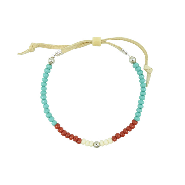 Native Works Aqua, Red & White Glass Bead Bracelet | Field Museum Store