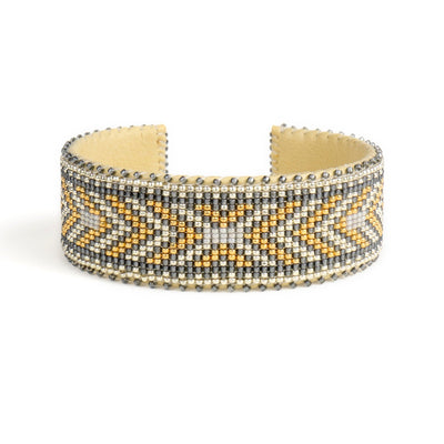 Gold and White Glass Beaded Cuff | Field Museum Store