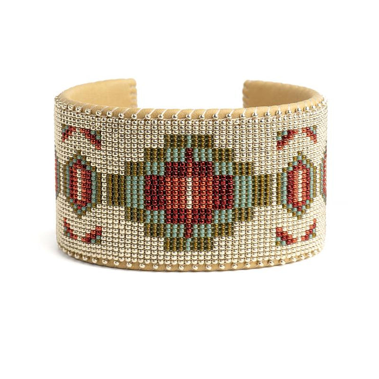 Turquoise and Red Glass Beaded Cuff | Field Museum Store