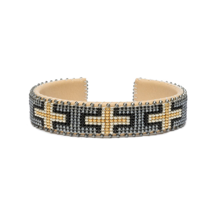 Grey and Gold Glass Beaded Cuff | Field Museum Store