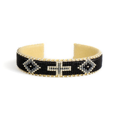 Black and Grey Glass Beaded Cuff | Field Museum Store