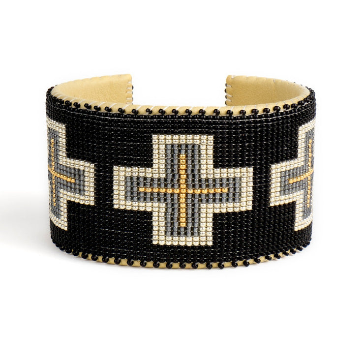 Black and Gold Glass Beaded Cuff | Field Museum Store