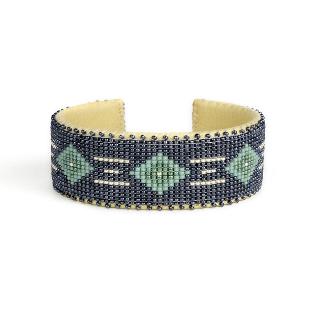Navy and Green Glass Beaded Cuff | Field Museum Store