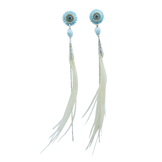 "Light Blue ""Feather Fly Aways"" Earrings by Catherine Blackburn 