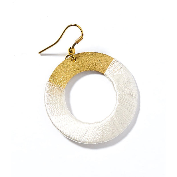 Kaia White Disc Earrings | Field Museum Store