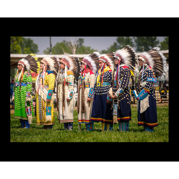 """Apsáalooke Women Wearing War Bonnets"" Print by Adam Sings In The Timber 