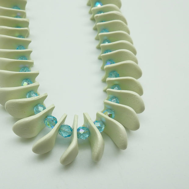 Blue Imitation Elk Teeth Necklace by Della BigHair-Stump | Field Museum Store