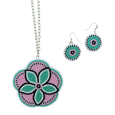 Beaded Turquoise Flower Necklace and Earring Set by Carrie Moran McCleary | Field Museum Store