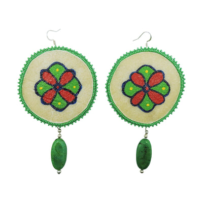Green Bead Drop Rawhide Earrings by Carrie Moran McCleary | Field Museum Store