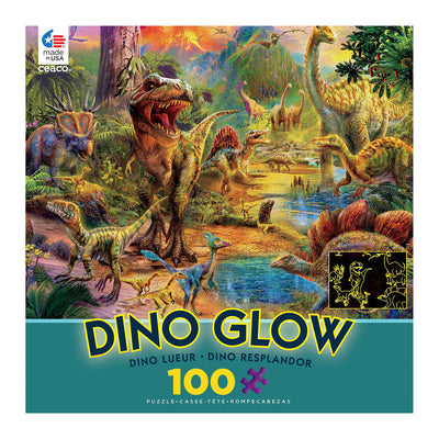 Dino Landscape Glow in the Dark 100 Piece Puzzle | Field Museum Store