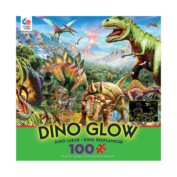 Dino Party Glow in the Dark 100 Piece Puzzle | Field Museum Store