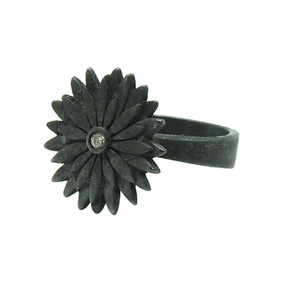Ellie Thompson Sterling Silver Diamond Flower Ring | Field Museum Store