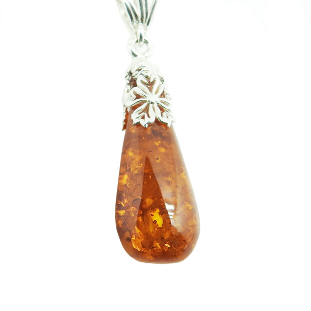 Floral Honey Amber Pendant Necklace | Field Museum Store