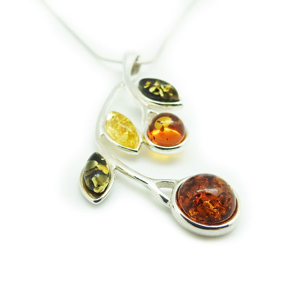 Multi-Color Amber Leaf Pendant Necklace | Field Museum Store