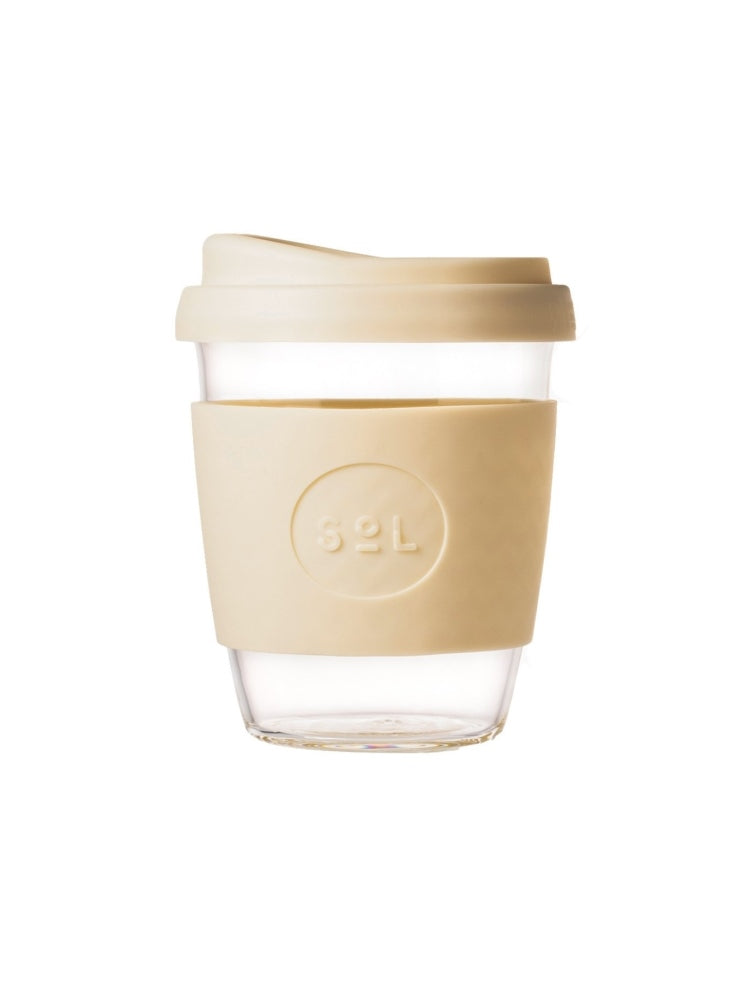 Glass SOL coffee cup with a coloured lid and silicon grip available in eight colours, UNSW logo on the grip - Coastal Cream