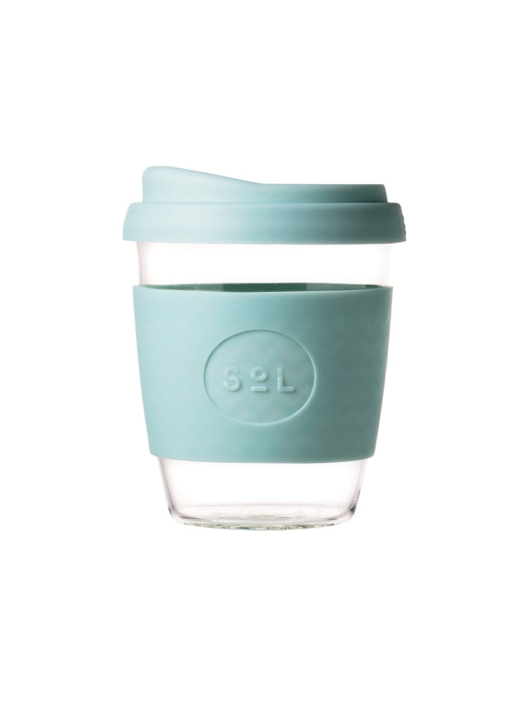 Glass SOL coffee cup with a coloured lid and silicon grip available in eight colours, UNSW logo on the grip - Cool Cyan