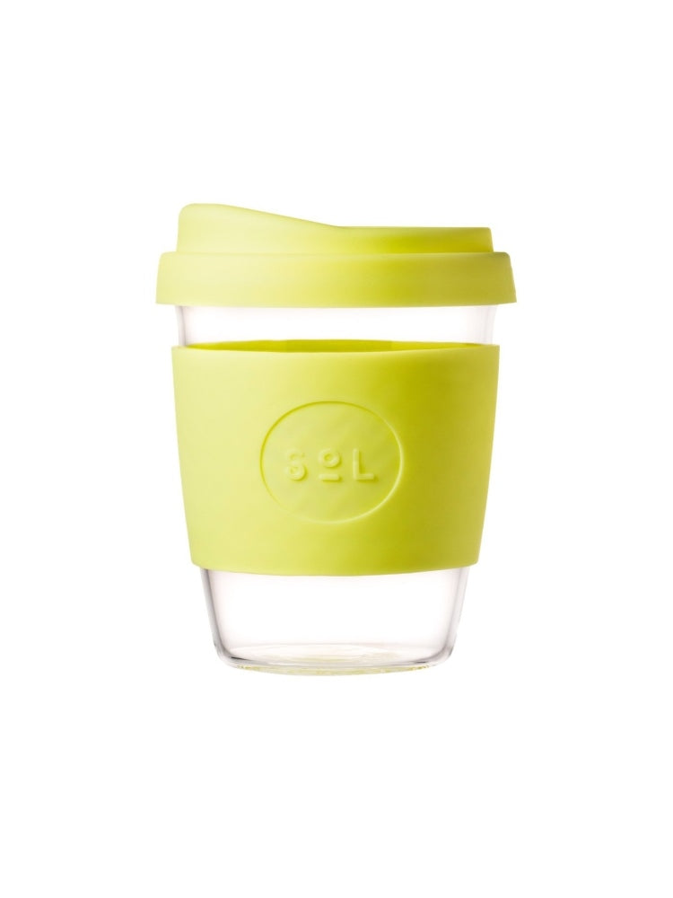 Glass SOL coffee cup with a coloured lid and silicon grip available in eight colours, UNSW logo on the grip - Yummy Yellow