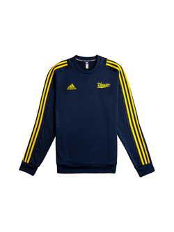 UNSW x Adidas Navy blue jumper with yellow stripes and logo