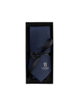 UNSW Silk Tie in solid navy with a white logo - navy