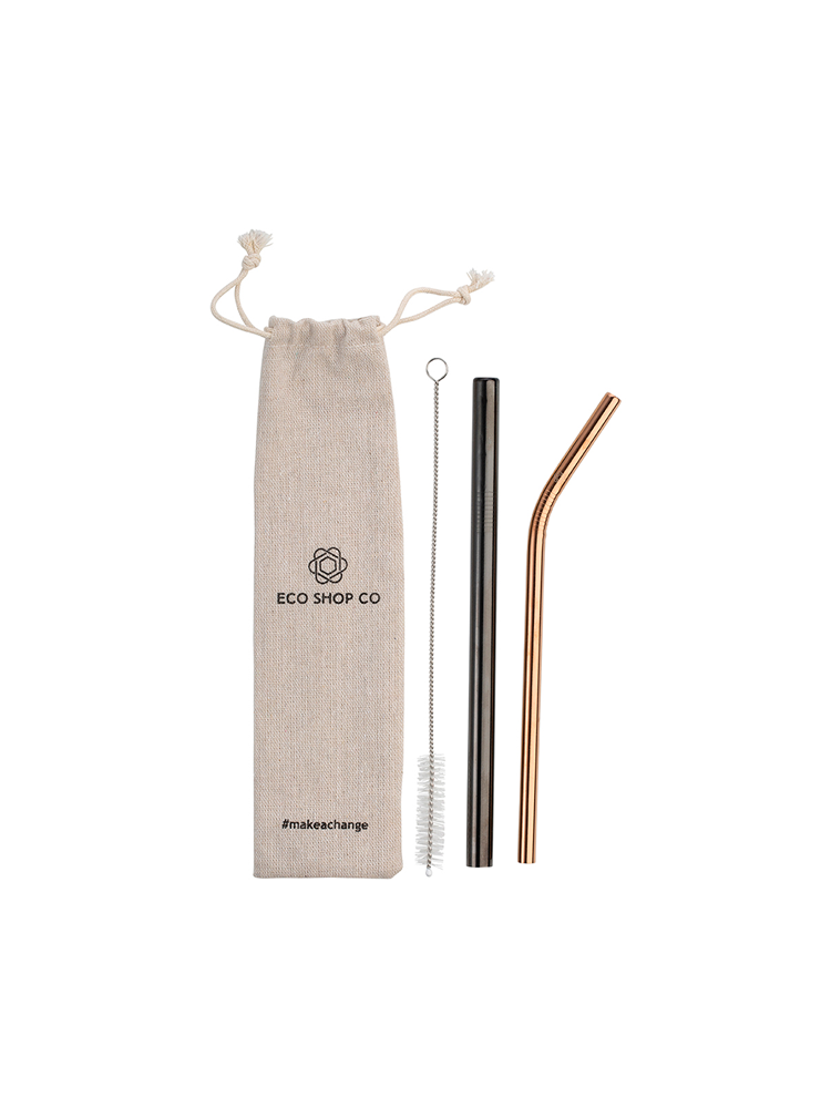 Straw kit featuring carry back, brush, larger smoothie straw and small bent straw made of metal