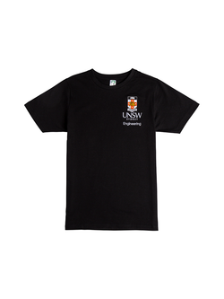 Black t-shirt with the UNSW colour crest and white Engineering text underneath