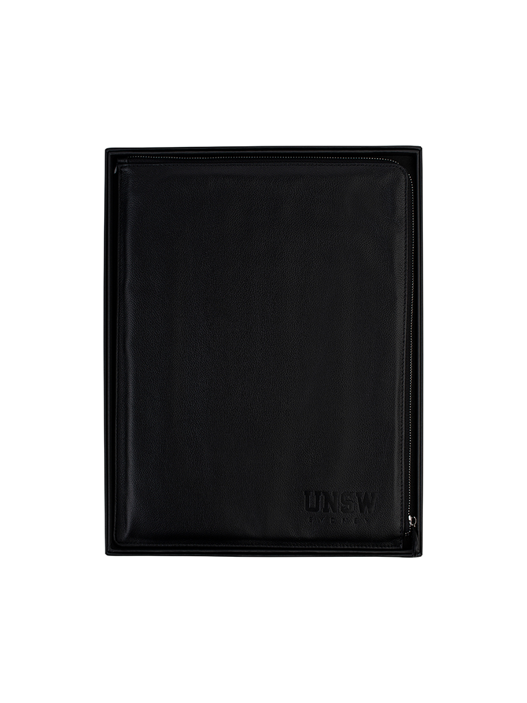 Leather compedium with UNSW embossed logo