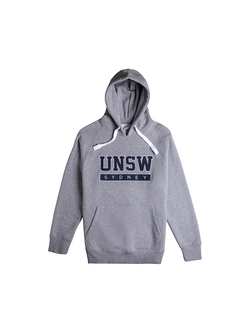 UNSW Block text hoodie in grey and navy