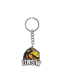 Silver backed UNSW lion mascot keyring in full colour