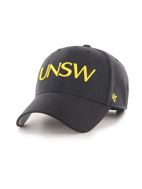 Grey '47 brand cap in grey with UNSW text in yellow -  front view 1