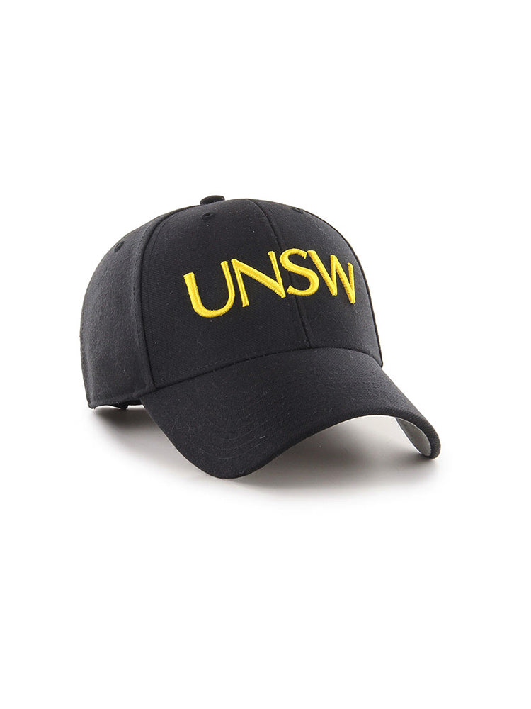 Grey '47 brand cap in grey with UNSW text in yellow - front view 2