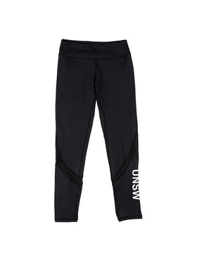 Black stretch leggings with the UNSW logo on the calf