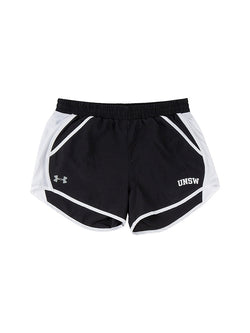 Black shorts with white detail on the outer thigh, UNSW logo on one side, Under Armour logo on the other
