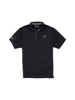 Black polo shirt with a grey Under Armour logo on the breast and the UNSW logo on the arm