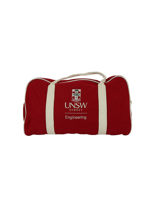 UNSW Engineering red duffle bag with cream straps