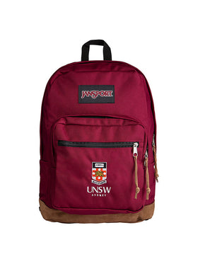 Jansport backpack with a suede leather bottom and embroidered UNSW logo on the front pocket - in maroon colour