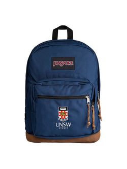 Jansport backpack with a suede leather bottom and embroidered UNSW logo on the front pocket in navy