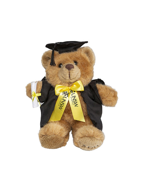 20cm UNSW Graduation Bear with gold neck ribbon - front view