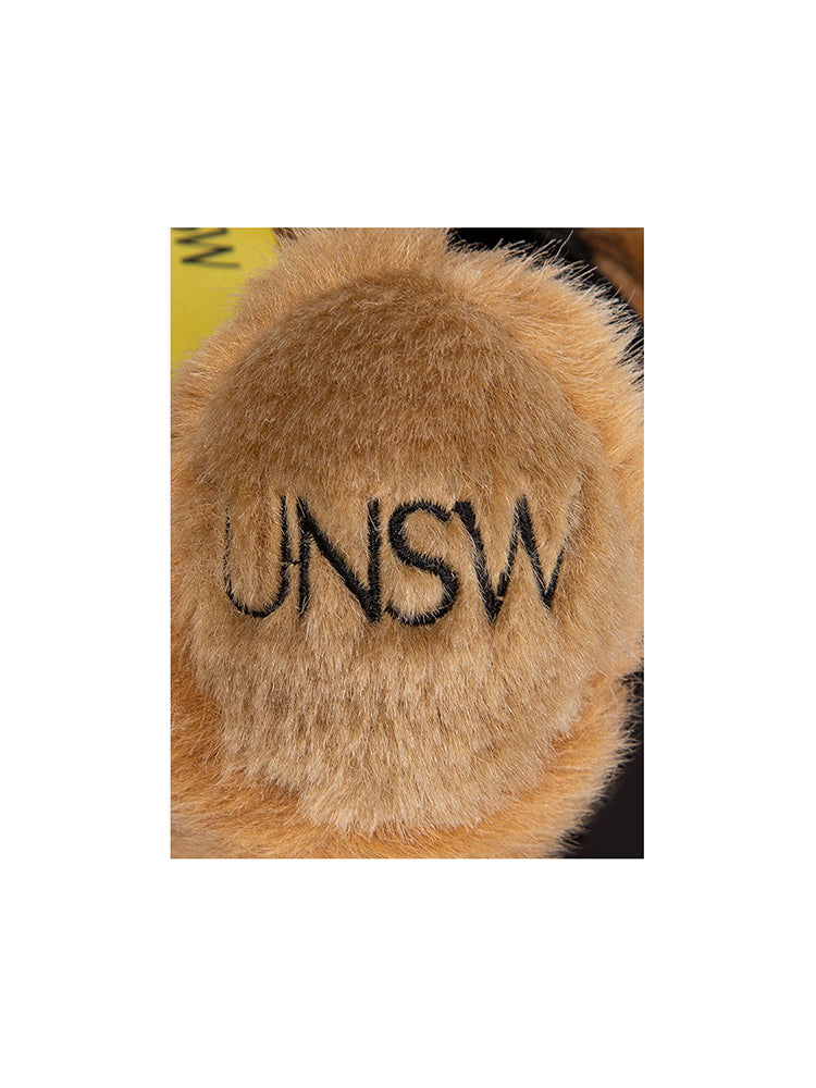 20cm UNSW Graduation Bear with gold neck ribbon - detail shot