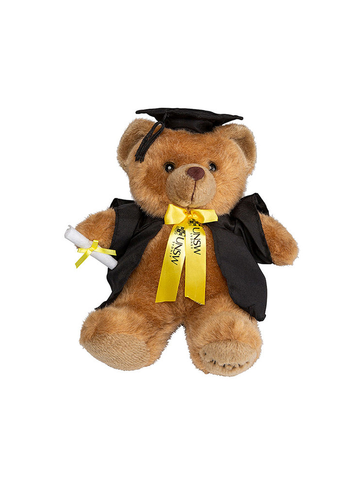 24cm UNSW Graduation Bear with gold neck ribbon - front view