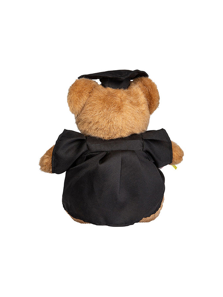 24cm UNSW Graduation Bear with gold neck ribbon - back view