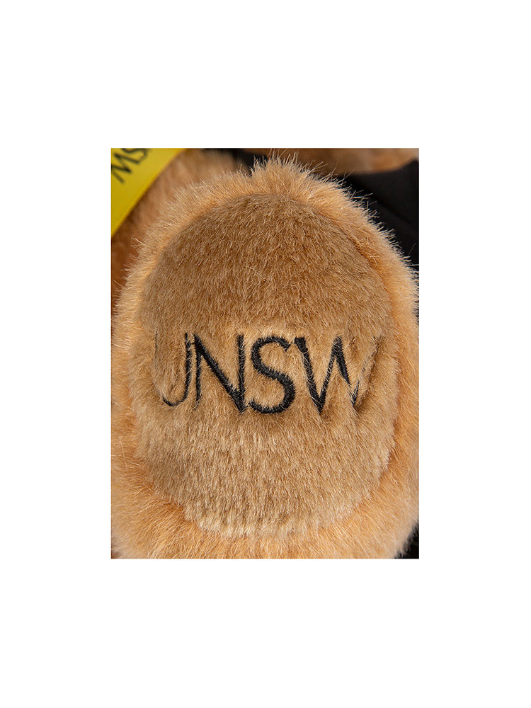 24cm UNSW Graduation Bear with gold neck ribbon - detail shot