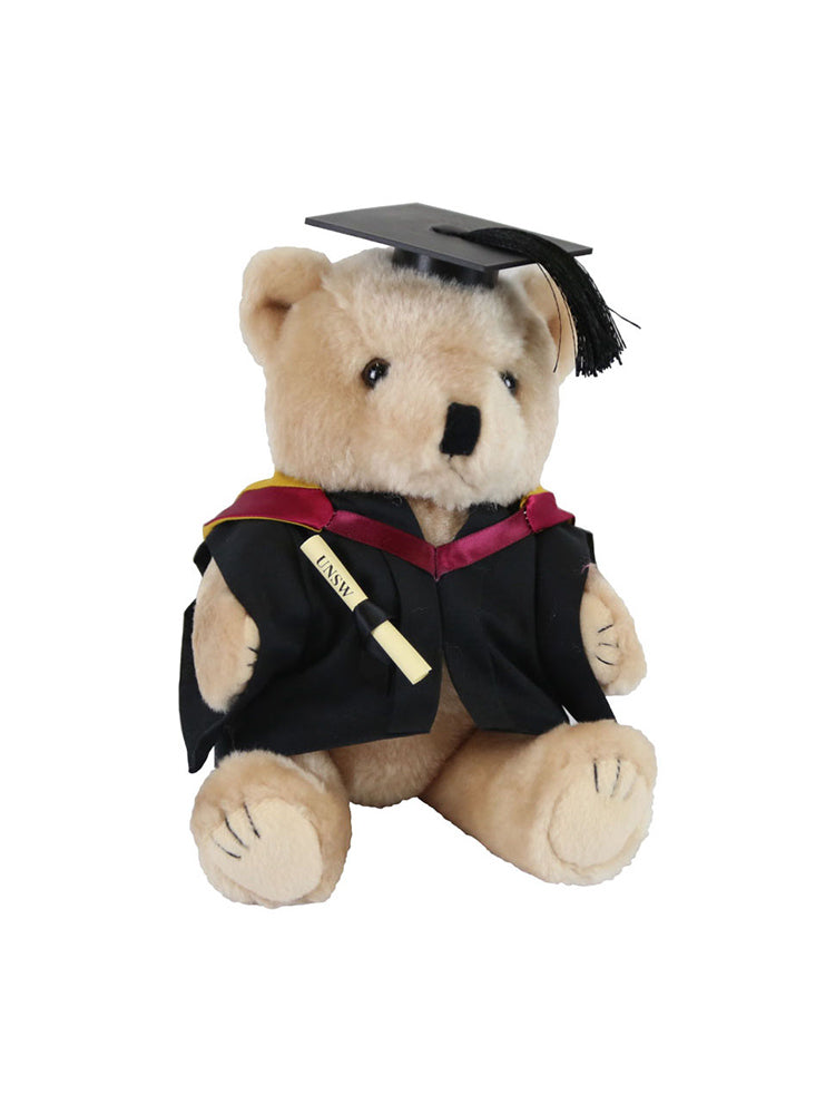 A plush bear wearing academic dress in faculty colours holding a graduation scroll - Faculty of Engineering - Bachelor