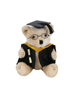 Plush bear in academic dress with glasses, holding a graduation scroll