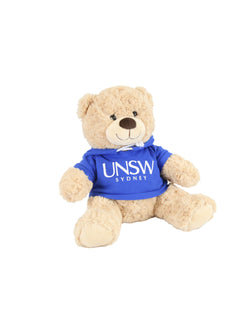 A plush bear wearing a hoodie with a UNSW logo  - bright blue