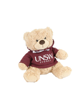 A plush bear wearing a hoodie with a UNSW logo  - maroon