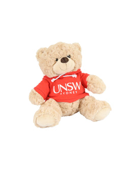 A plush bear wearing a hoodie with a UNSW logo  - red