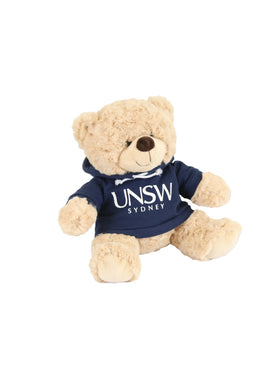 A plush bear wearing a hoodie with a UNSW logo - royal blue