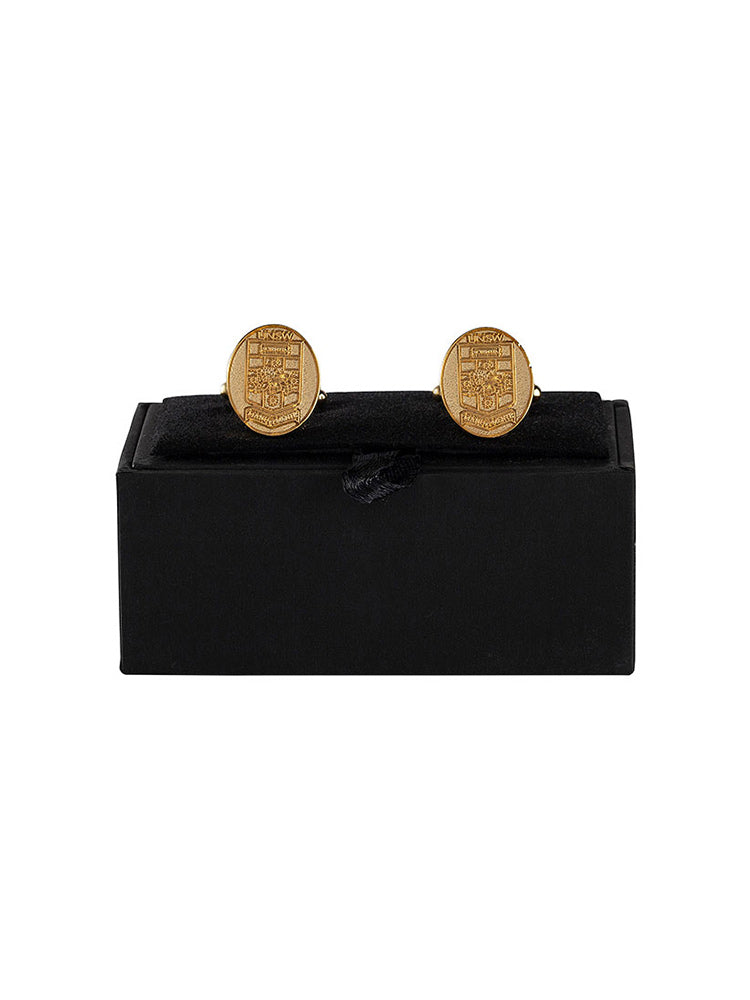 Gold Oval Cufflinks with UNSW logo