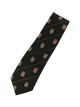 UNSW Silk Tie in black with a repeat pattern of the logo - black