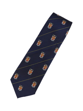 UNSW Silk Tie in black with a repeat pattern of the logo - navy blue.